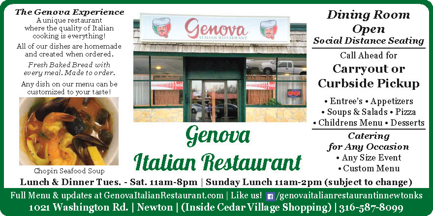 Genova Italian Restaurant Newton KS coupons Dining, buffet, catering, Buy Local Magazine 2020 09 September